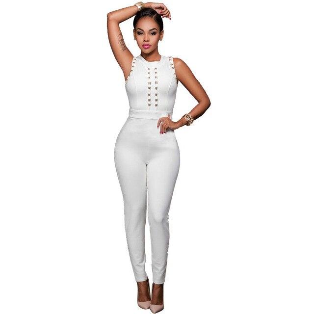 a9305807352 Summer 2017 White Elegant Jumpsuit Sleeveless Long Bodysuit Rivet Sexy  Women Jumpsuits And Rompers Macacao Feminino Longo C2773