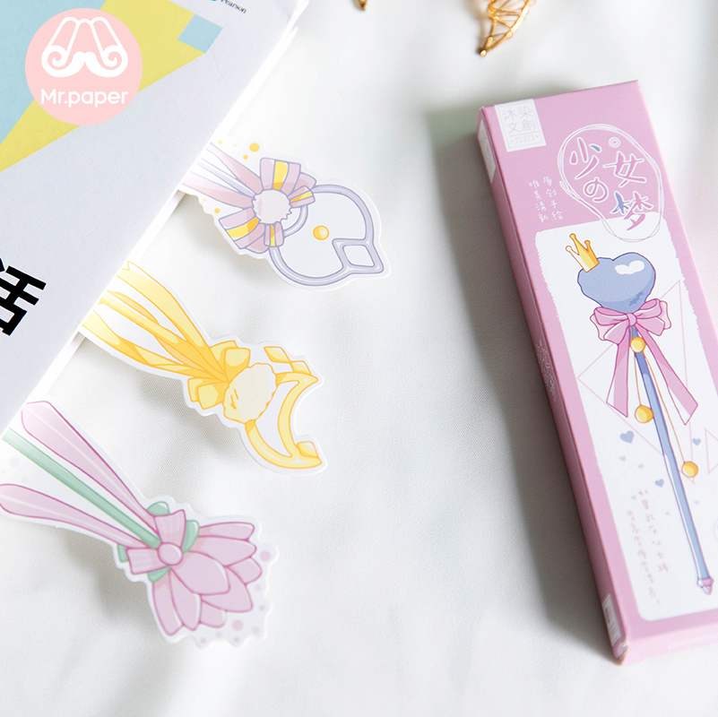 Mr Paper 30pcs/box Cartoon Dreamy Pink Fairy Wand Irregular Bookmarks for Novelty Book Reading Maker Page Paper Bookmarks Gifts 4