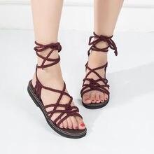 84f0fdb42c2 Casual Women Cross Strap Roman Gladiator Sandalias Nylon Summer Shoes Open  Toe Fashion Footwear Beach Shoes