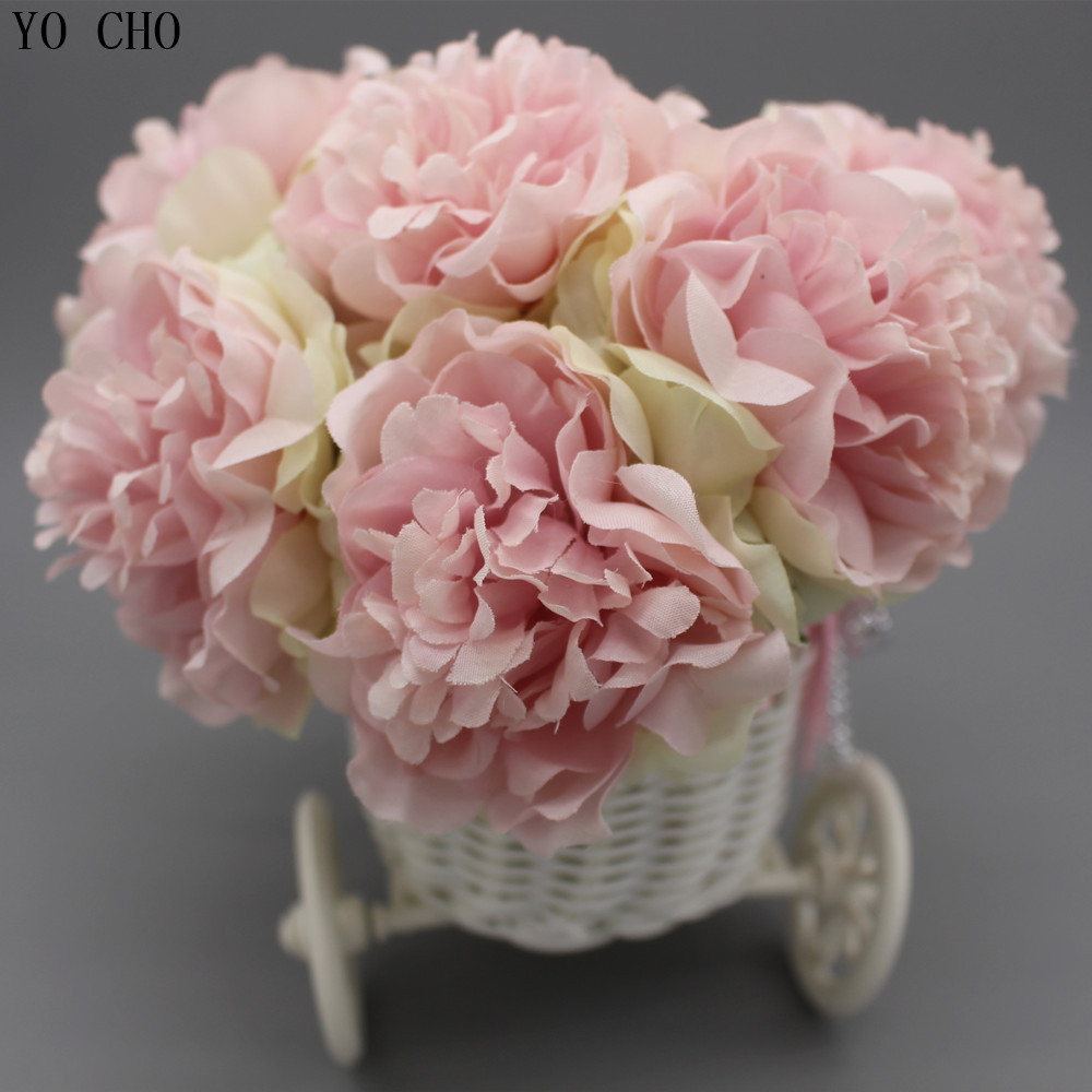 Artificial peony bouquet bike vase Plastic Tricycle bicycle Basket ...