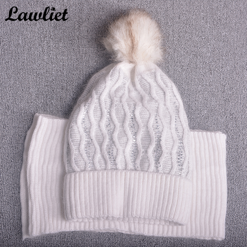 Beanies Hats for Women Winter Wave Type Pom Pom Wool Fur Hats Ladies Gorro with Long Scr ...