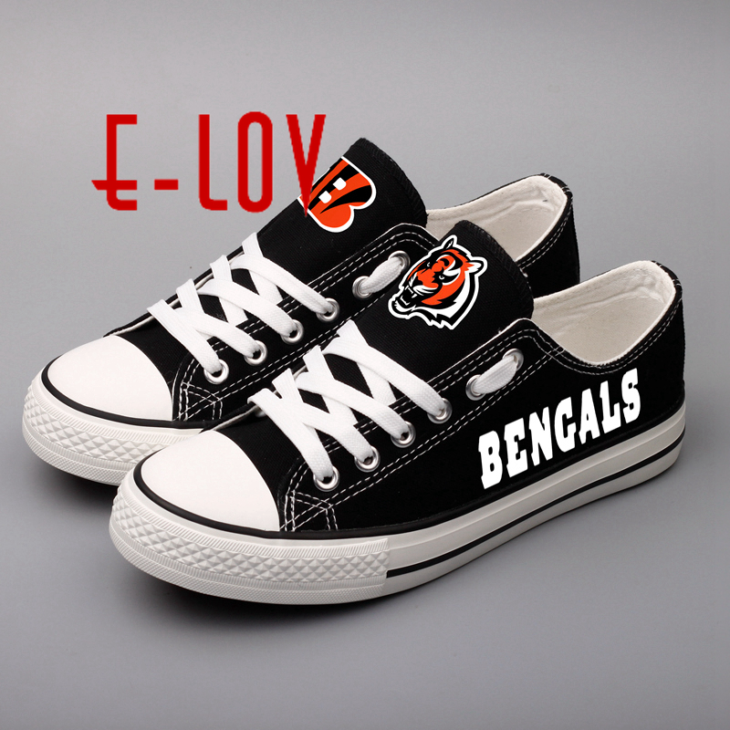E-LOV New Arrived High School Canvas Shoes Bengals Black Low Top Lace Shoes For Woman Girl Print Walking Shoe e lov women casual walking shoes graffiti aries horoscope canvas shoe low top flat oxford shoes for couples lovers