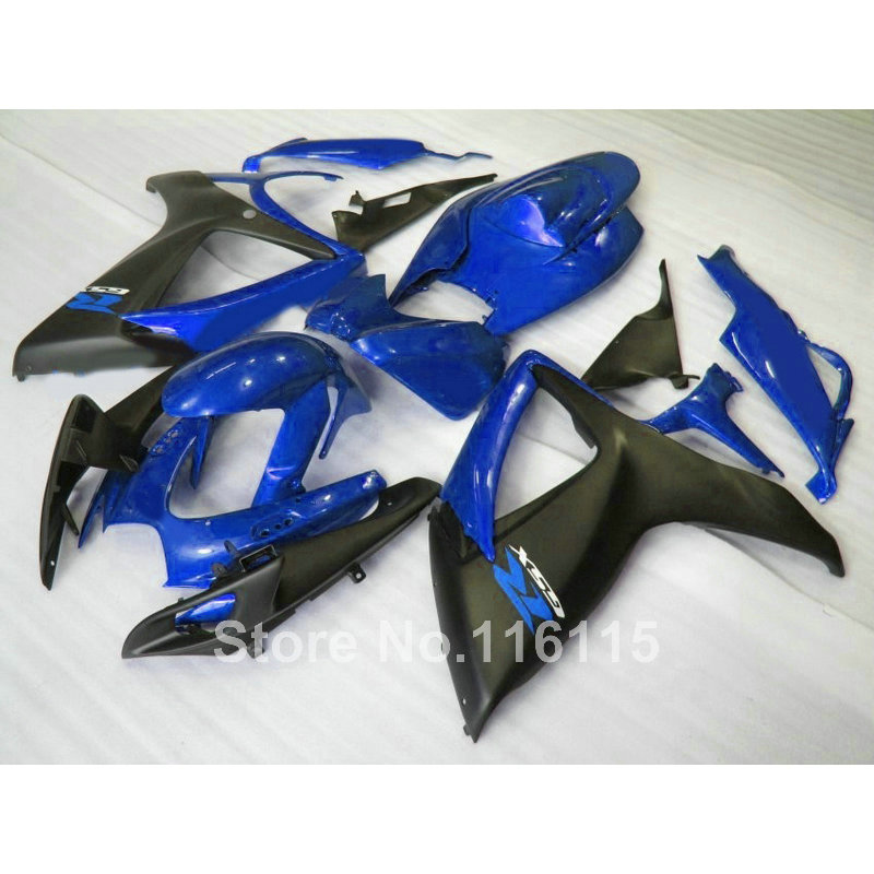 Injection mold  fairings for SUZUKI GSXR 600 750 K6 K7 2006 2007 matte black blue  fairing kit GSXR600 GSXR750 06 07 A626