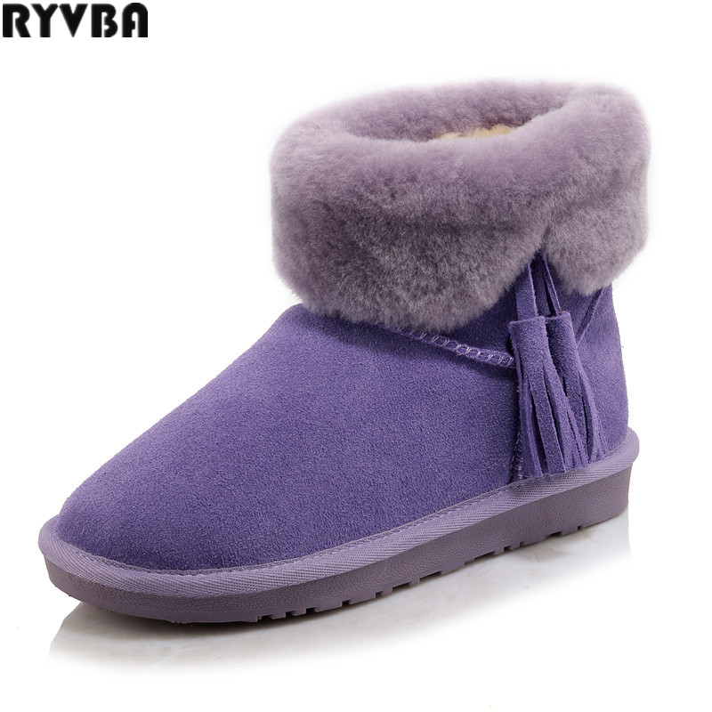 цены RYVBA womens winter nubuck cow genuine leather ankle snow boots women fashion tassel woman boots ladies round toe shoes flats