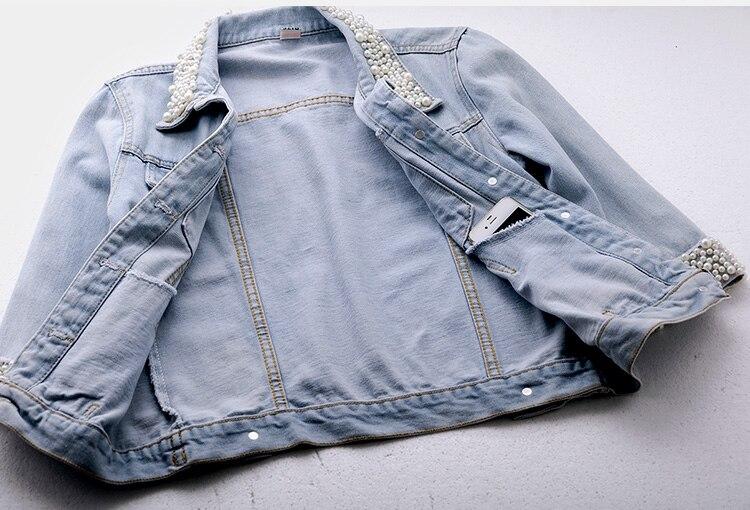 2018 Women Spring Autumn Korean Diamond Beaded Denim Jacket Summer Light Blue Short Jackets Slim Jeans Coats Feminino Outerwear 6