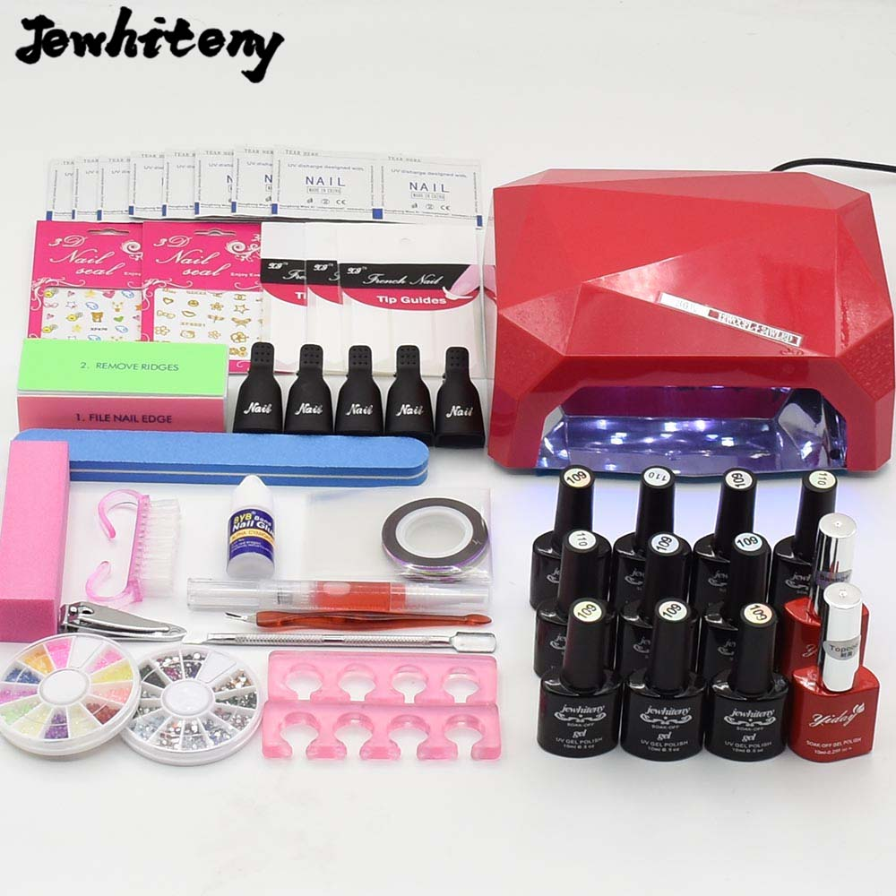 Jewhiteny 10ml soak off nail polish uv gel vernish lacquer 36W UV LED Lamp base gel top coat nail art tools set manicure kits nail art manicure tools set uv lamp 10 bottle soak off gel nail base gel top coat polish nail art manicure sets