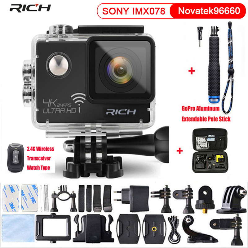 RICH Action Camera NT96660 True 4K 3840*2160P 24FPS Wifi 16MP 170D Lens 2.0 Stlye Mini Cam Waterproof Sports Camera