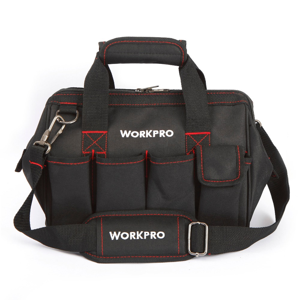 WORKPRO 12 inch Tool Bag 600D Polyester Electrician Shoulder Bag Tool Kits Bag workpro 16 600d foldable tool bag shoulder bag handbag tool organizer storage bag