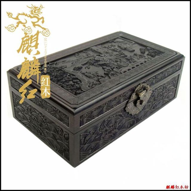 Kylin rosewood crafts Ebony Wood Jewelry Box fine carved antique