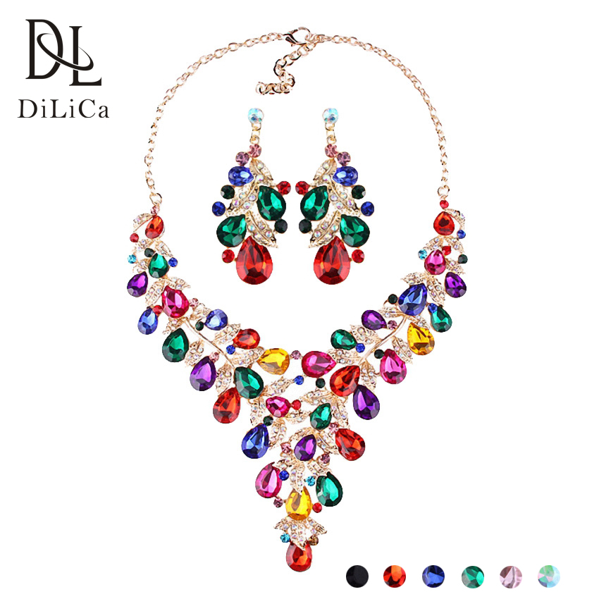 DiLiCa Gorgeous Jewelry Sets for Women Crystal Statement Bib Necklaces & Pendants Charms Necklace Earrings Wedding Party Set