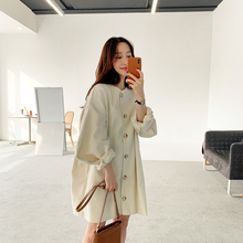 2019 Korean Spring New Elegant Women Dress Long Sleeve Bubble Sleeves Cotton Casual Full Button Batwing Sleeve