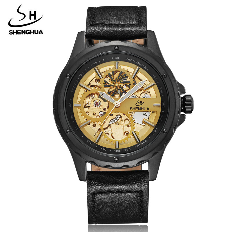2017 New Luxury Brand Fashion Automatic Mechanical Watches For Men Unique Skeleton Luminous Leather Mens Mechanical Wrist Watch fashion leisure sport automatic mechanical wrist watches for mens clock luxury brand leather band skeleton dial steel mens watch