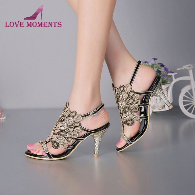 731e80cd65a580 Stiletto Heel Sandals Strappy Summer Sandals Black Rhinestone Heels Sandals  Wedding Bride Shoes Red Silver Prom Party Open Toe