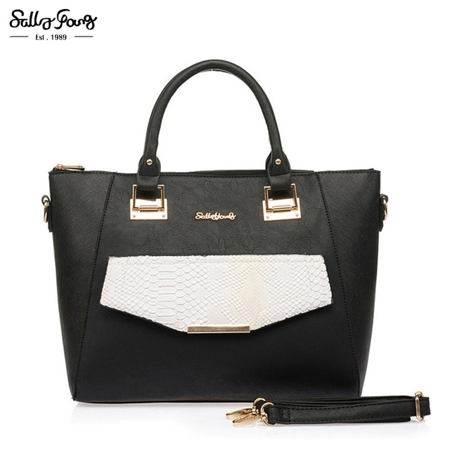 Sally Young International Brand Fashion Women Serpentine Pattern Bags Zipper Patchwork Smooth Lady Handbags 4 Color