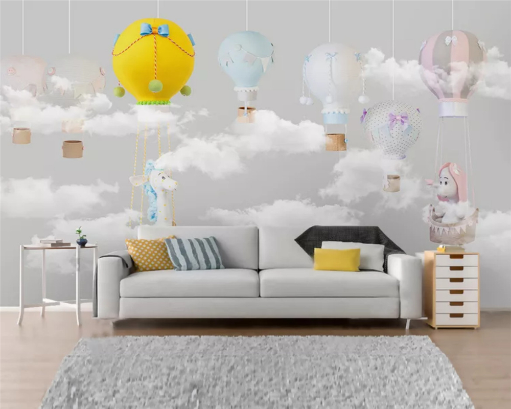 beibehang Customized eco-friendly wallpaper Nordic minimalist giraffe balloon children room background wall papers home decor