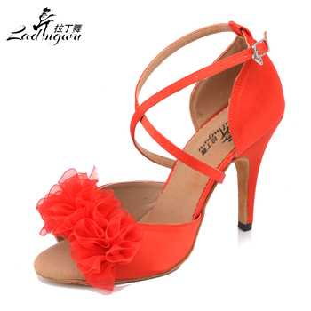 Satin Red Soft Bottom Latin Dance Shoes