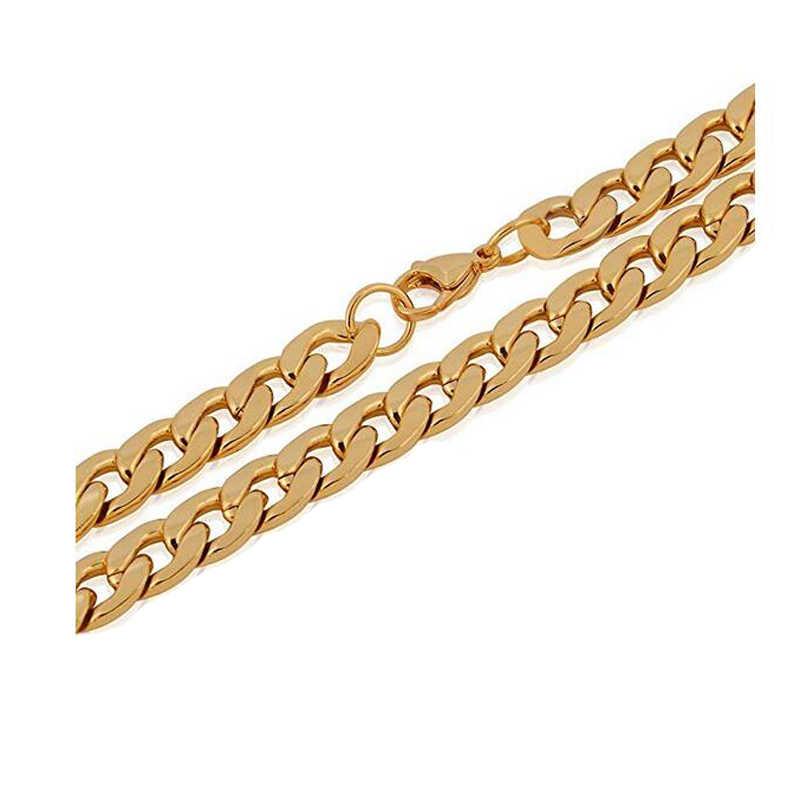 1 stuk 8-30 Inches Goud Rvs Curb Collier voor Mannen Vrouwen Breedte 3mm-7.5mm