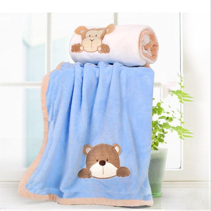 Super Soft Coral Fleece Baby Blanket Infant Crib Bedding Cartoon Monkey Rabbit Bear Blanket Newborn Gift For Boy Girl
