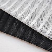 Fashion Elegant Mesh Black Striped Lace Fabric Soft Tissue Stretch Dress Mesh Fabric Knit Apparel Sewing