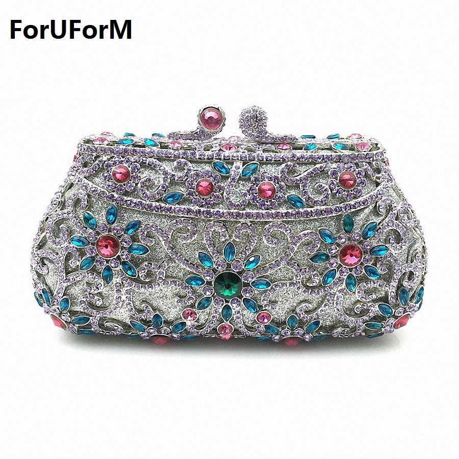 ForUForM 2017 Hollow Out Chain Clutch Purse Silver Crystal Evening Bag Women Wedding Party Bridal Handbags Wholesale LI-1562 ombra omt75s