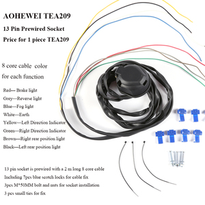 Image 3 - AOHEWEI prewired 13 pin core way towing  trailer socket  harness with 2 meter 8 pin cable wire 13 pin trailer adapter connector