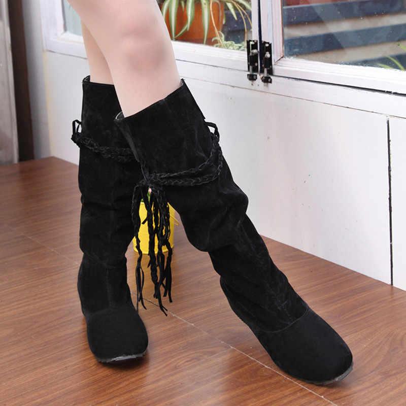 Новые женские сапоги; сезон осень-зима; сапоги до середины колена с бахромой; Женская флисовая обувь с кисточками; Botas Feminina; большие размеры 35-43