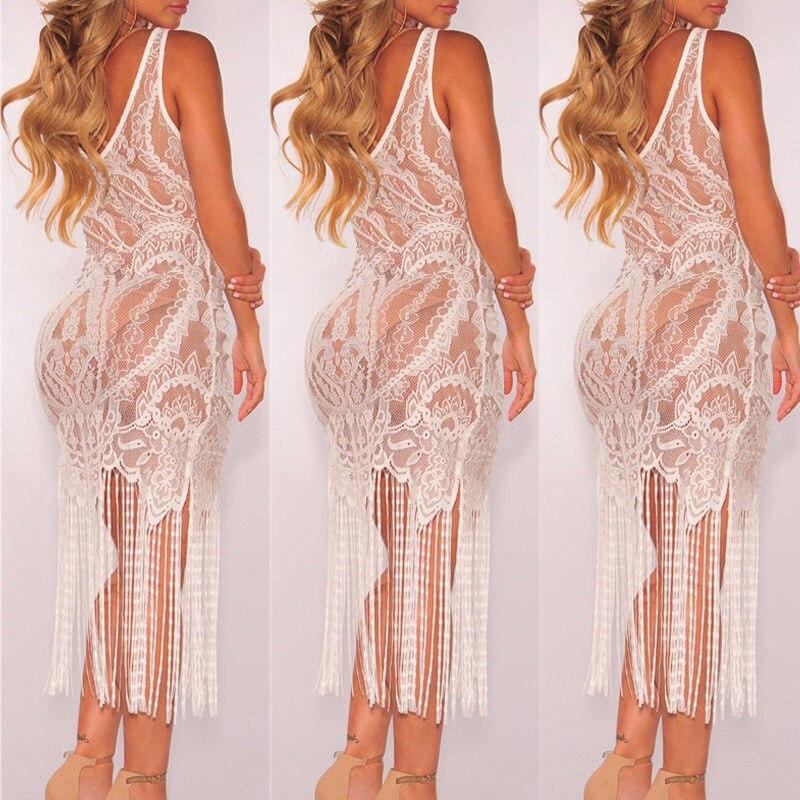 2019 Hot Brand Women Bandage Bodycon Hollow out Lace Crochet Bathing Suit Bikini Swimwear Cover Up Beach Dress Soft Sundress