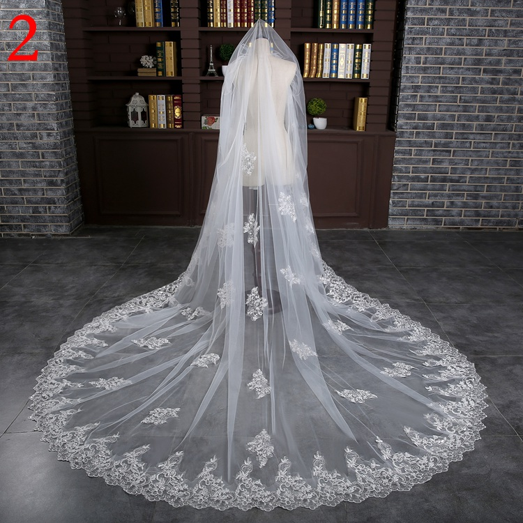 Long Bridal Veils 3-meter One Layer Lace Bride Veil With Comb Elegant Luxury Wedding Accessories High Quality (1)