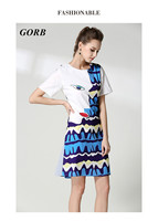 GORB 2017 Summer Newest Hot Sale High Quality Europe Fashion Women Print Mini Dresses In Stock M-XXL G7101