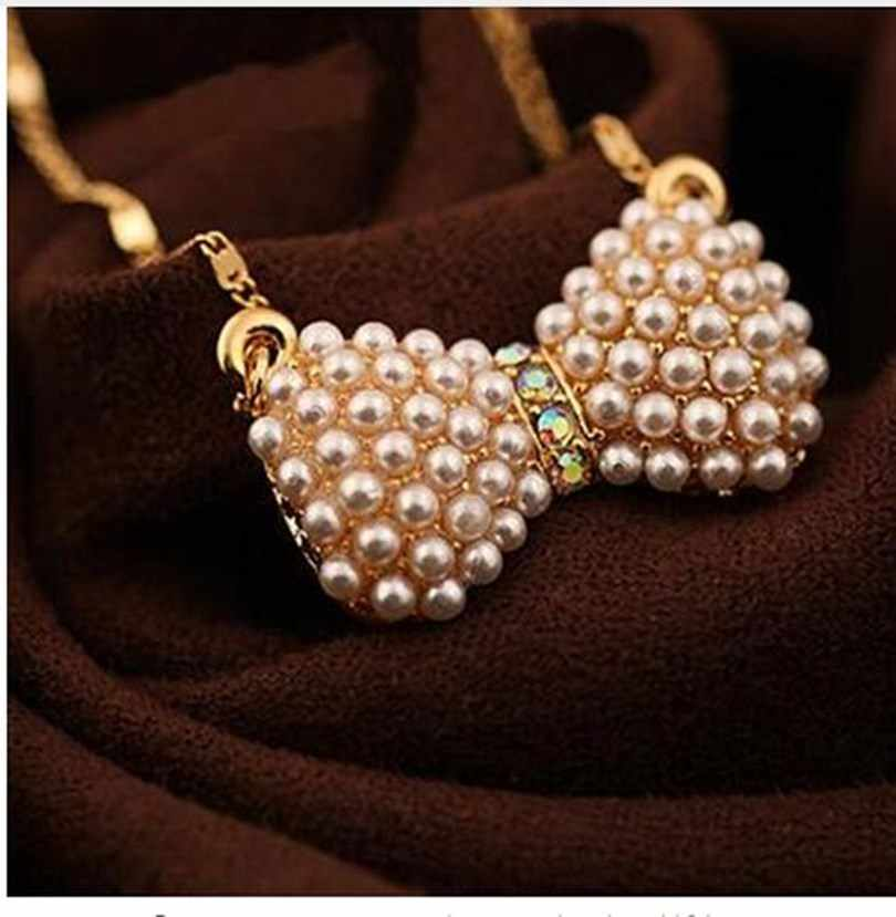 Fashion trinkets pendant necklace new fresh cute bow necklace imitation pearl high quality jewelry female elegant necklace