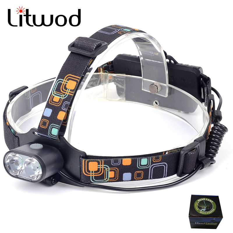 Litwod z907314 8000LM 2x T6 LEDs Headlight White Light Head Lamp Flashlight 18650 Battery Headlamp For Camping Fishing Hunting yage headlight led flashlight fishing light head lamp for hunting mini touch 2 mode switch convenient specialized outdoor lamp