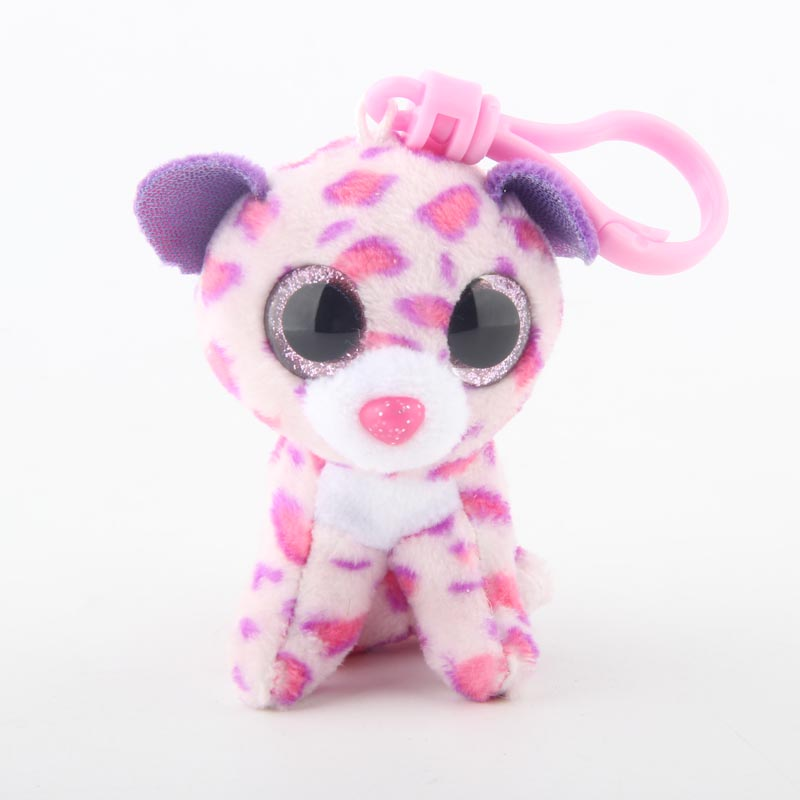Ty Beanie Boos Big Eyes Plush Pink Leopard Keychain Toy Doll TY Baby Kids Gift