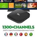 Inteligente Android IPTV Caja Amlogic S805 Quad Core H.265 HD Carga BT WIFI 1300 + Canales de IPTV Árabe Francés África Europa TV Receptor