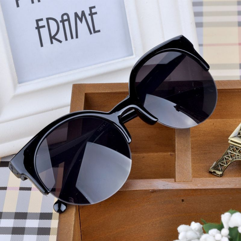 VESTEY Brand Design Cat Eye Sunglasses Women 2019 Nueva Moda Classic half frame Eyewear Lente Negro Gafas de Sol UV400 Gafas De