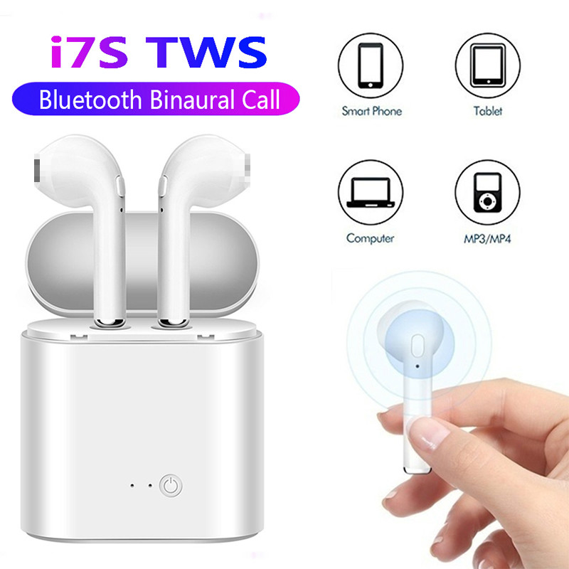 Bluetooth 5.0 Earphone I7s TWS Stereo Earbud Bluetooth Headset With Charging Pod Wireless Headsets Mic For IPhone Samsung Xiaomi