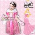 Bela Adormecida Traje Da Princesa Vestido Da Menina de Verão 2016 Vestidos para o Dia Das Bruxas Cosplay Vestido Rosa Princesa Aurora