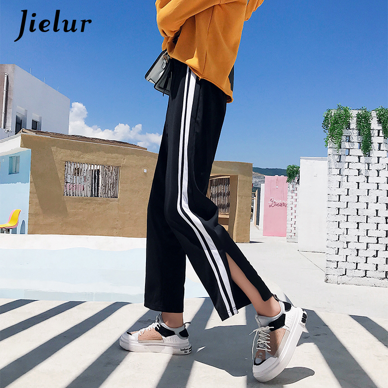 Jielur Autumn Spring Fashion Casual Women's Wide Leg   Pants   Striped Loose Elastic Waist Ladies Trousers Sweatpants   Capris   M-2XL