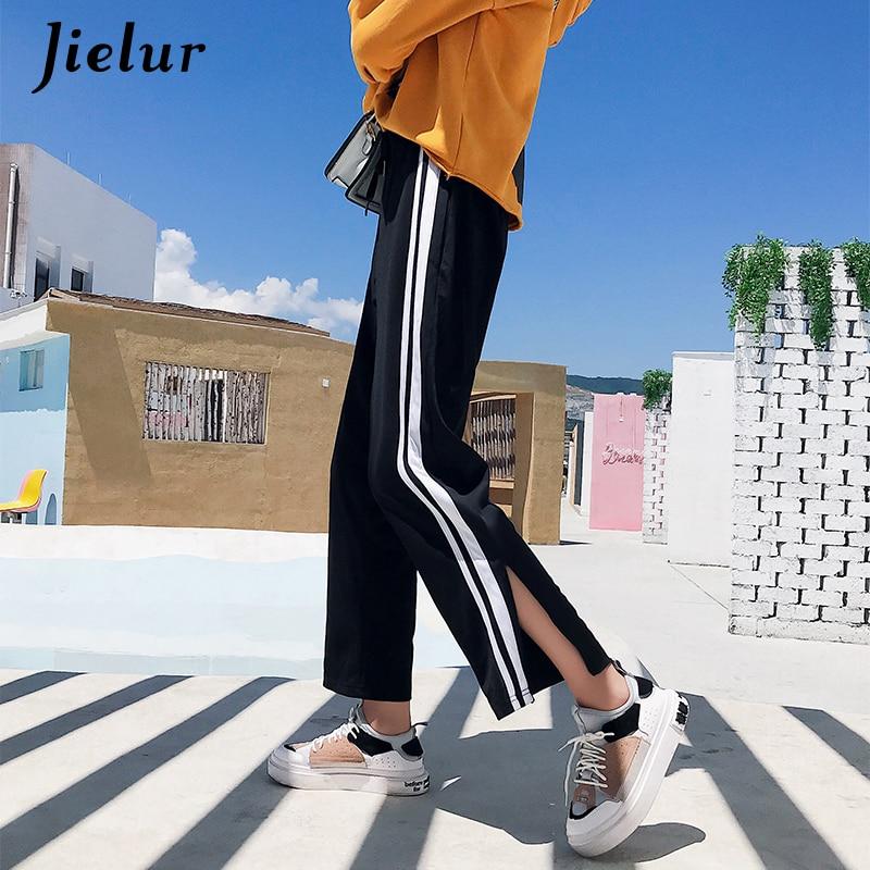 Jielur Autumn Spring Fashion Casual Women's   Wide     Leg     Pants   Striped Loose Elastic Waist Ladies Trousers Sweatpants Capris M-2XL