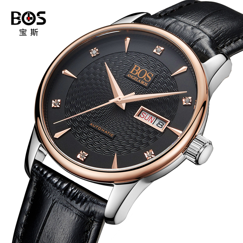 где купить  BOS Watches Classic Mens AUTO Date automatic Mechanical Watch Self-Winding Analog Skeleton Brown Leather Man Wristwatch  по лучшей цене