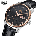 BOS Watches Classic Mens AUTO Date automatic Mechanical Watch Self-Winding Analog Skeleton Brown Leather Man Wristwatch