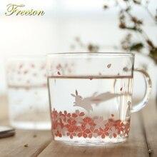 Kawaii Japanese Sakura Mug Cute Animal Glass Coffee Cup Cat Deer Rabbit Tea Porcelain Zakka Novelty Girl Friend Maid Gift