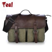 Luggage Bags - Briefcases - 2017 New Canvas Leather Men's Briefcase Casual Vintage Men's Crossbody Bag Bussiness Shoulder Messenger Bag For Women Man Unisex