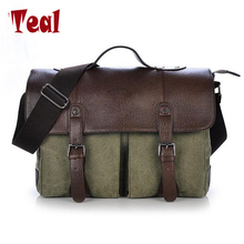 2017 new Canvas Leather Men's Briefcase Casual Vintage Men's Crossbody Bag Bussiness Shoulder Messenger Bag For Women Man Unisex