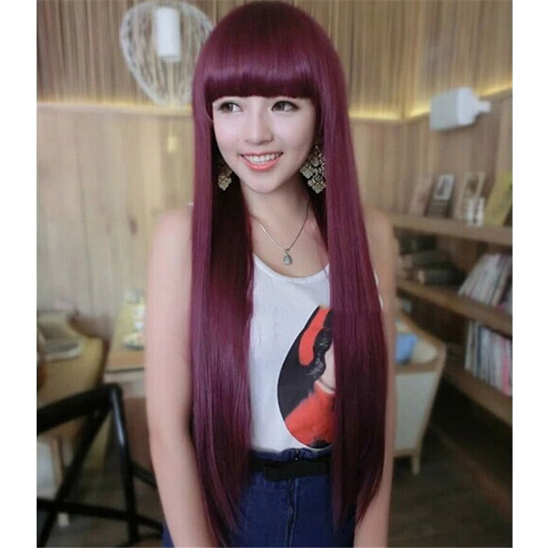 Long Straight Cosplay Wine Red Synthetic Lace Front Wig Heat Resistant None Hair Full with Neat Bangs