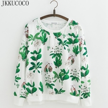 JKKUCOCO Beautiful faery Flowers Print Casual Sweatshirts Long Sleeve O-neck Pul