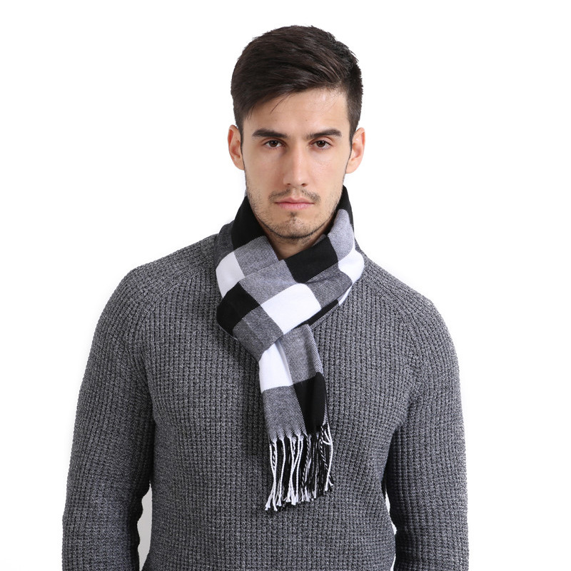 Shawl Wrap Winter Scarf Cashmere-Bufandas Tassels Sjaal Striped Hombre Brand Knit Cotton