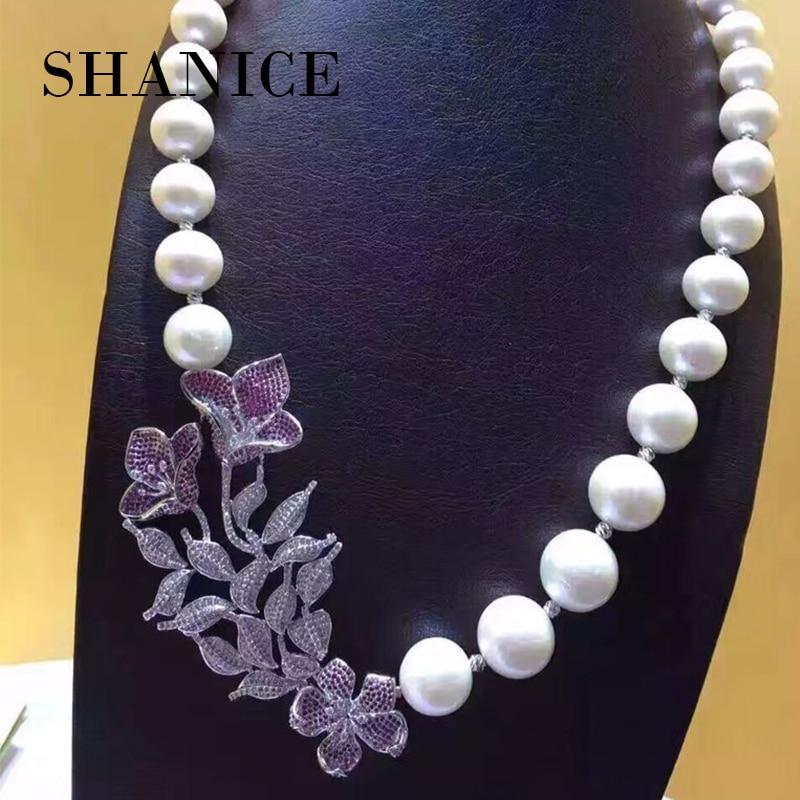 SHANICE Luxury Flower AAA Cubic Zirconia Crystal Rhinestone Silver Pendant Accessories DIY Pearl Beaded Necklace Making Findings