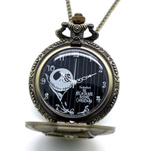 New Arrive Movie Theme Pendant The Nightmare Before Christmas Pocket Watch Bronze Quratz Reloj De Bolsillo Gift