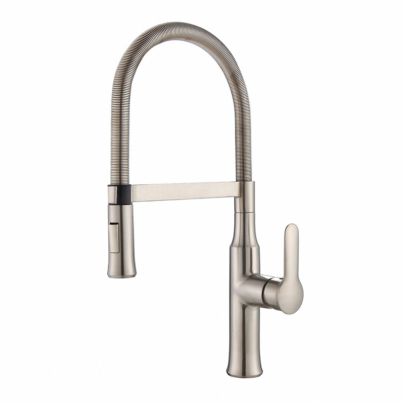 BAKALA Kitchen Faucet Nickel Finished Hot And Cold Water Classic Kitchen Faucet Brass Brushed Process Swivel Faucet BR-9202L