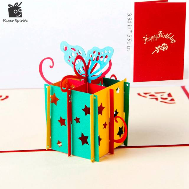 Online Shop Happy Birthday Gift Box Butterfly Handmade Creative 3D Pop UP Greeting Cards Free Shipping
